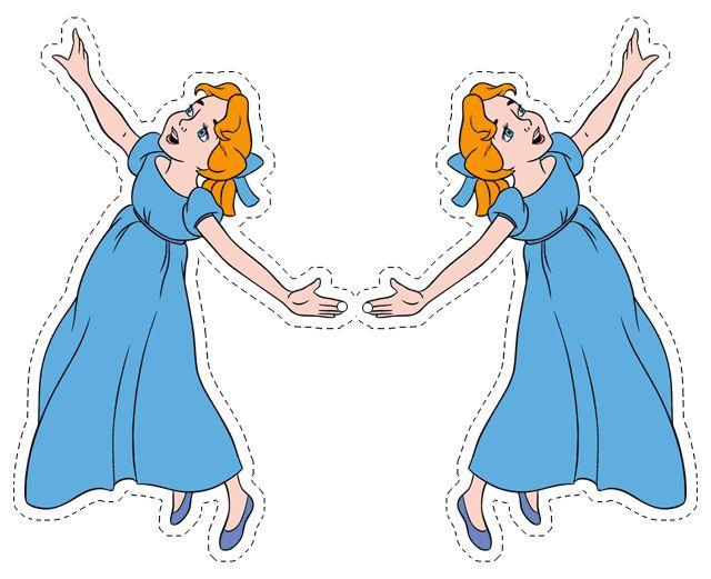 Este é um lindo enfeite para festa do Peter Pan. É só imprimir, recortar e pendurar num fio. Uma idéia realmente legal é fazer nuvems de balões, e pendurar as imagens caindo dos balões, fica lindo. Fizemos isso este ano (mas com fotos). Pode escolher o tamanho da imagem para imprimir, inserindo as imagens noMore