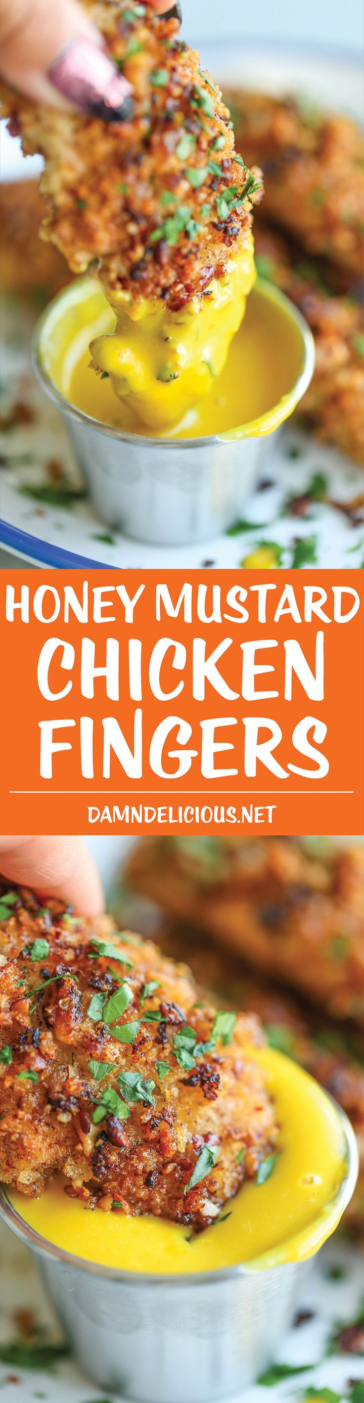 Honey Mustard Chicken Fingers - Heart-healthy chicken tenders completely baked in an AMAZING mustard sauce and coated with a nutty crunchy pecan crust!