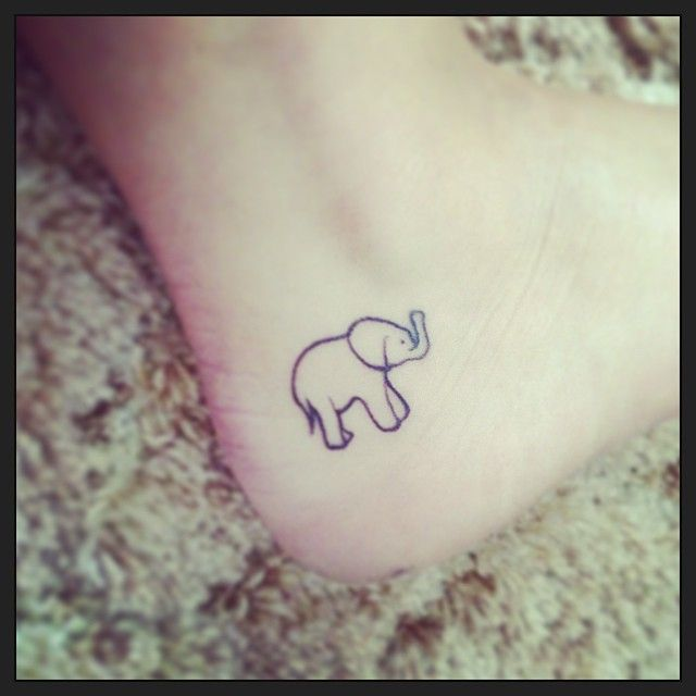 Cute Elephant Tattoo Design on Ankle #ElephantTattooDesigns