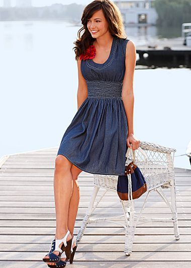 I love this with a yellow ribbon around the waist and boots for bridesmaids!!    Dark Blue (DKBL) Sleeveless Denim Dress