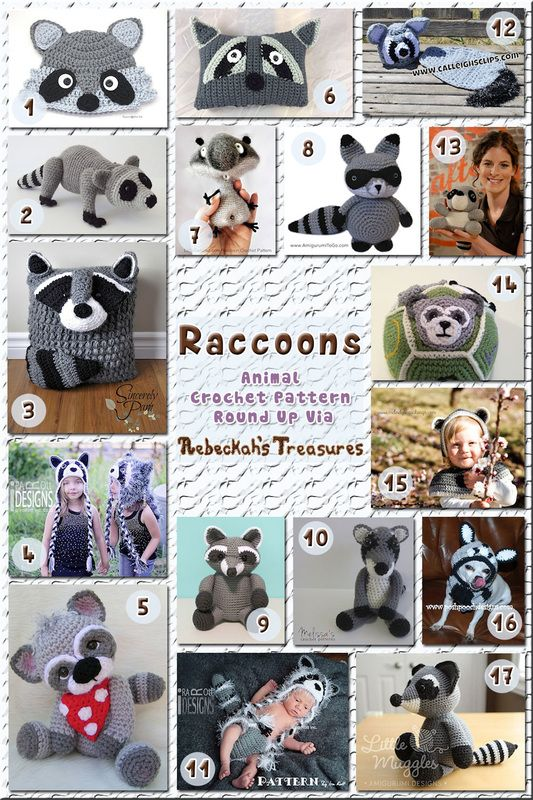 Raccoons - Animal Crochet Pattern Round Up via @beckastreasures
