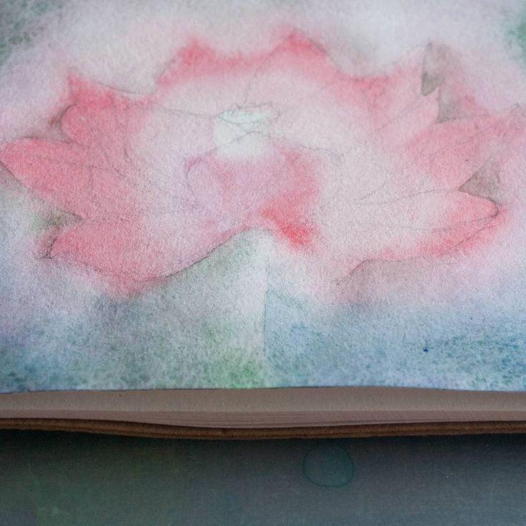 Лотос,  акварель. Получилось в итоге не очень,  а в процессе было красиво. #акварель #лотос #сейчас_рисую #lotos  #watercolor  #workinprogress #работавпроцессе #живопись