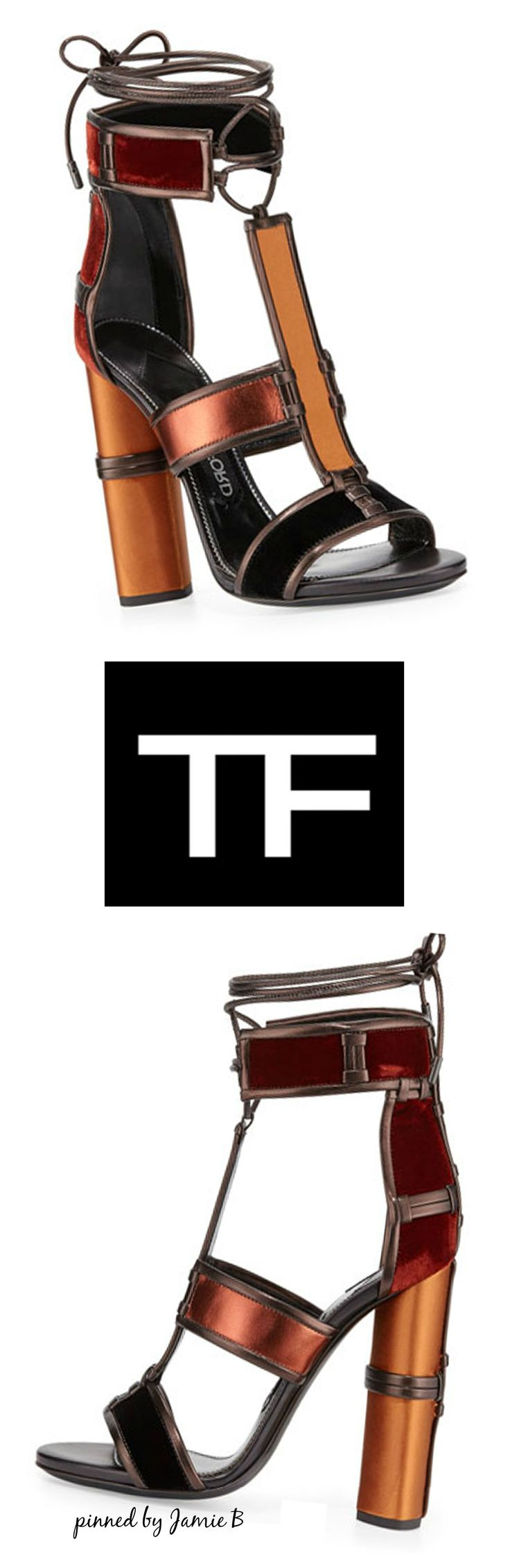 Tom ford fall 2015 patchwork leather cage sandal multi