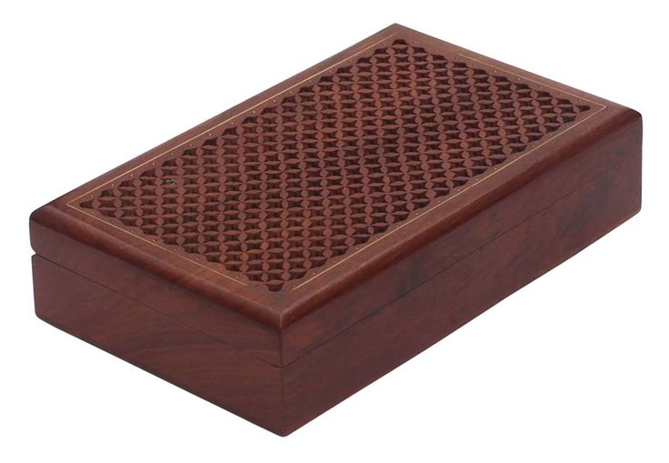 "Bulk Wholesale Hand-Carved 8"" Rosewood Rectangular Brown Jewelry Box / Keepsake with Brass Inlay Art & Jali Work – Antique-Look Boxes from India"