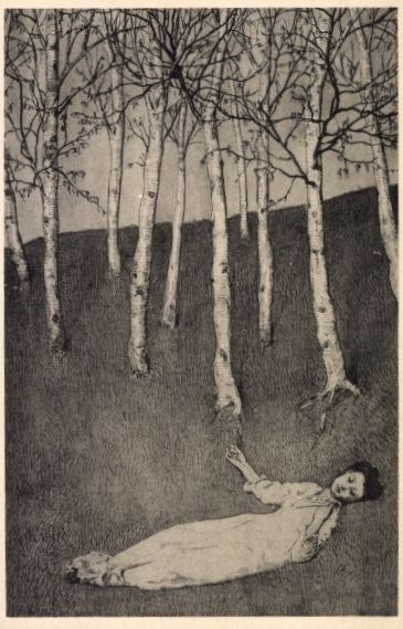 Max Klinger- Lady lying on the ground in the birch grove