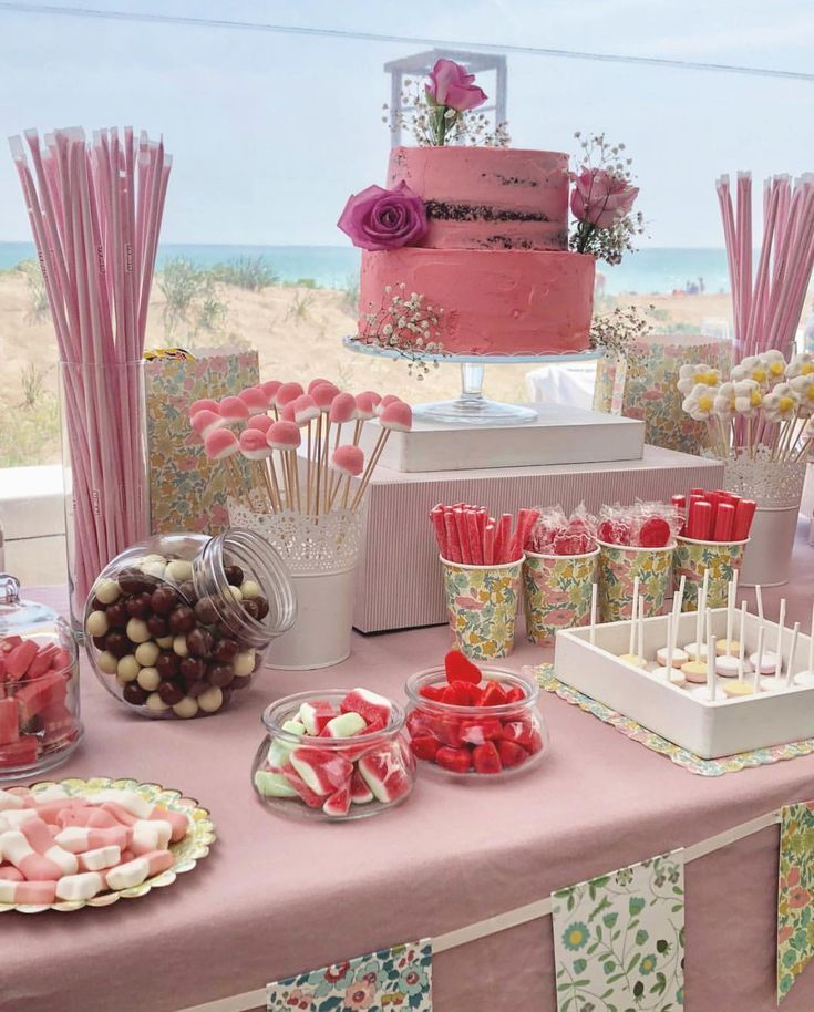 Pink themed cake table –  #Cake #Pink #table #themed