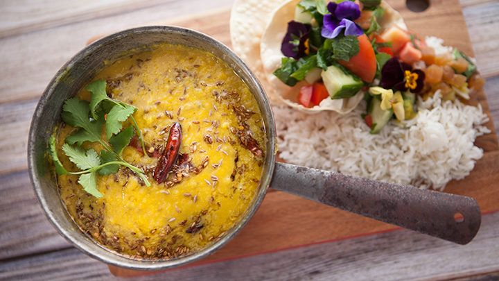 Red Lentil Dahl with Pineapple Chutney recipe - Everyday Gourmet with Justine Schofield