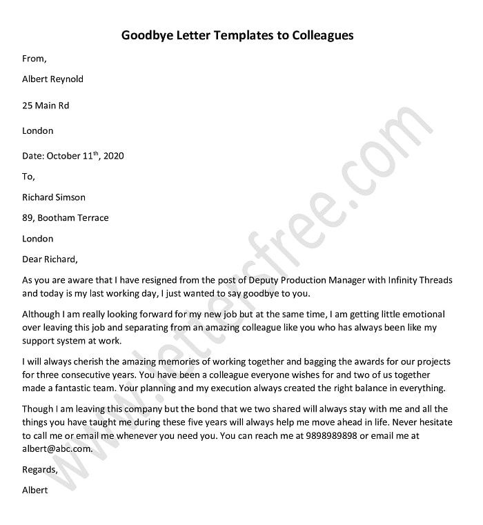 Goodbye Letters To Colleagues Farewell Letter Template Goodbye Letter To Colleagues Goodbye Letter Farewell Letter To Colleagues