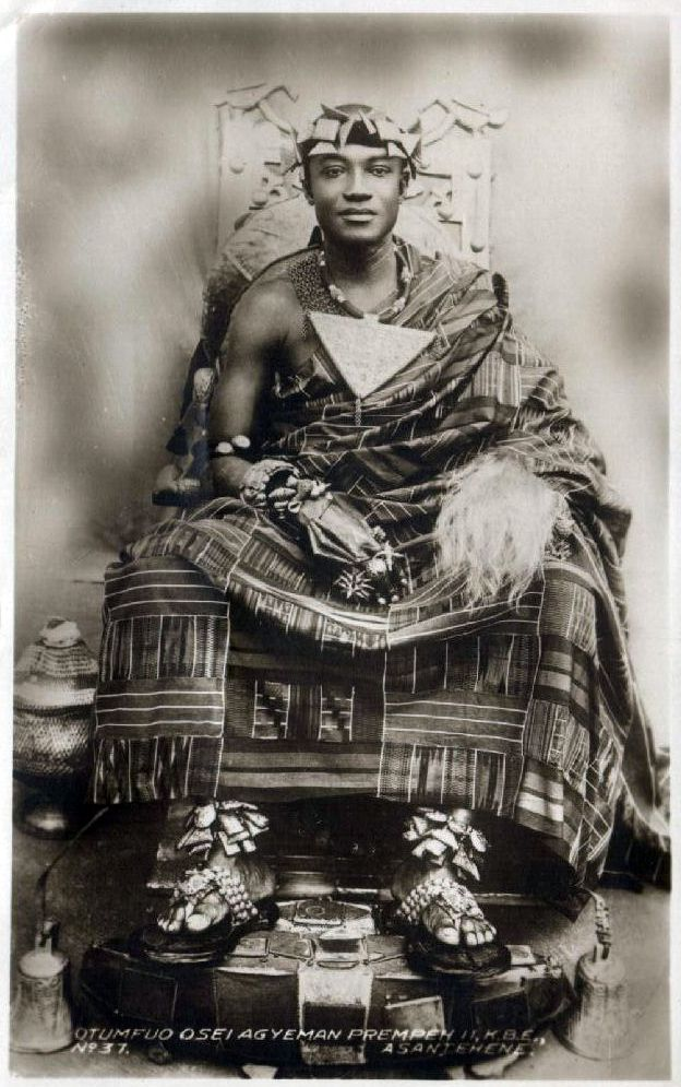1930s Ghana: A young King Otumfuo Osei Agyeman Prempeh II, King of Asante, 1931- 1970. In 1931, the year of his installation, he immediately began to work for the restoration of Asante Confederacy, which was accomplished in 1935. Accordingly his status was raised from that of Kumasihene to Asantehene. This was one of his greatest achievements. During his reign he managed to get large parts of Asante lands, which had been taken over by the British restored to the Golden Stool (more at link).