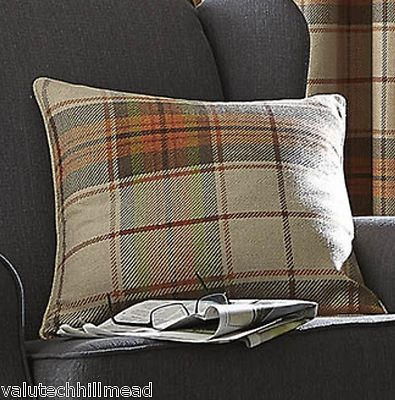 HOUSE ADDITIONS Brushed Heritage Check Cushion Cover BURNT ORANGE 55X55