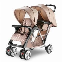 [ $42 OFF ] Twin Baby Stroller Double Seat Baby Car Portable Folding Strollers For Twins Shockproof Pram Twins Baby Buggy C01