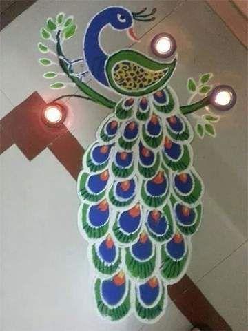 Peacock design rangoli | Ethnico