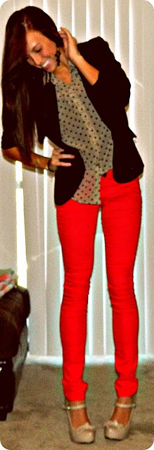 red skinnys and polka dot blouse and blazer