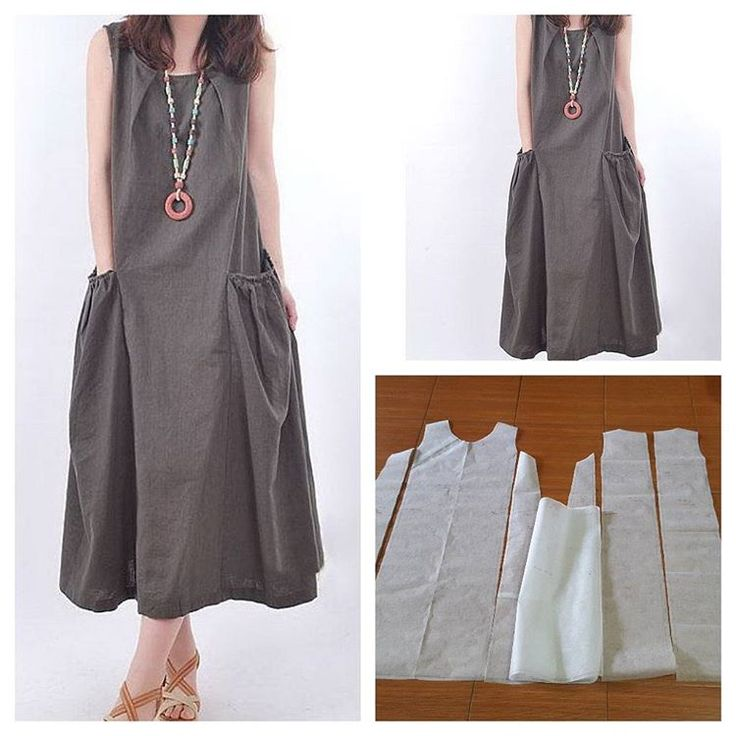 Long dress with pocket and pleat on the neck.