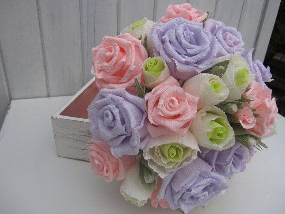 Huge Wedding Bouquet Bride Flowers Crepe Paper by moniaflowers