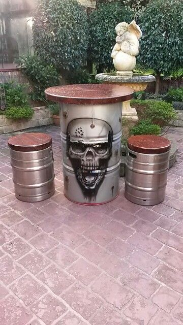 22 Best Airbrushed Drum Table Amp Keg Stools Images On