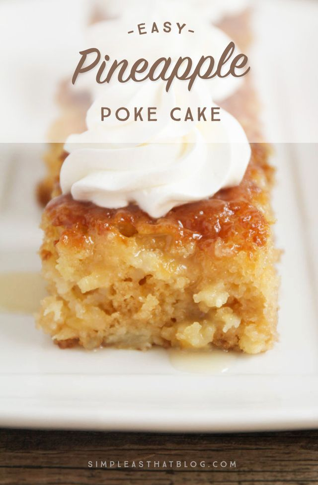 This made from scratch Pineapple Poke Cake is as easy as using a mix and it turns out spongey, moist and delicious every time! It's all the flavors of pineapple upside down cake, made simple and it's