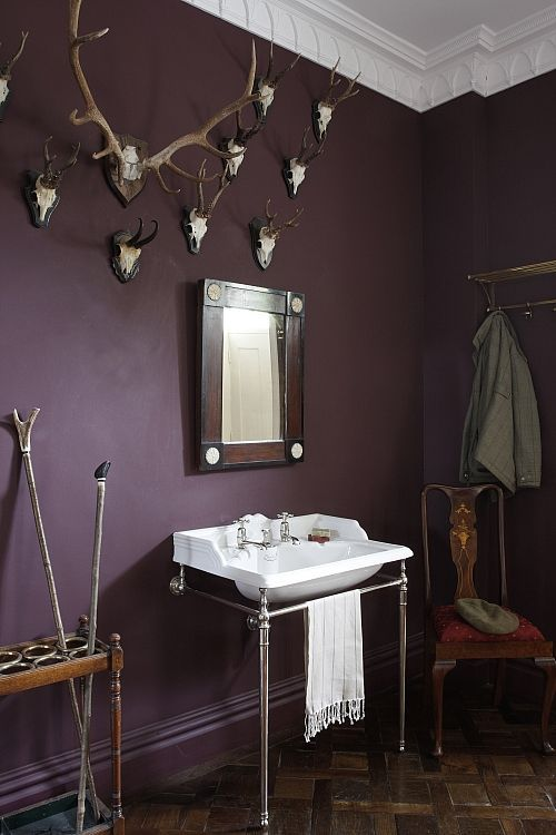This Cloakroom Bathroom in Yorkshire has rich purple hues that add warmth and character to the space #purple #plum #dark #bathroom #hunting #lodge