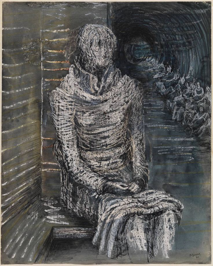 Henry Moore / Woman Seated in the Underground / 1941 / Gouache, ink, watercolour and crayon on paper