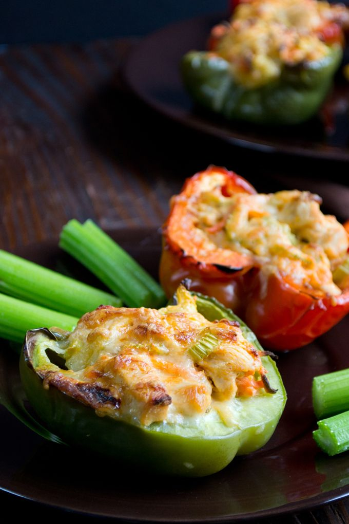 Buffalo Chicken Stuffed Peppers Recipe - Wing sauce, chicken, ranch dressing, carrots and celery - It's stuffed pepper night! You're not going to believe how delicious these are, or how easy they are to make.