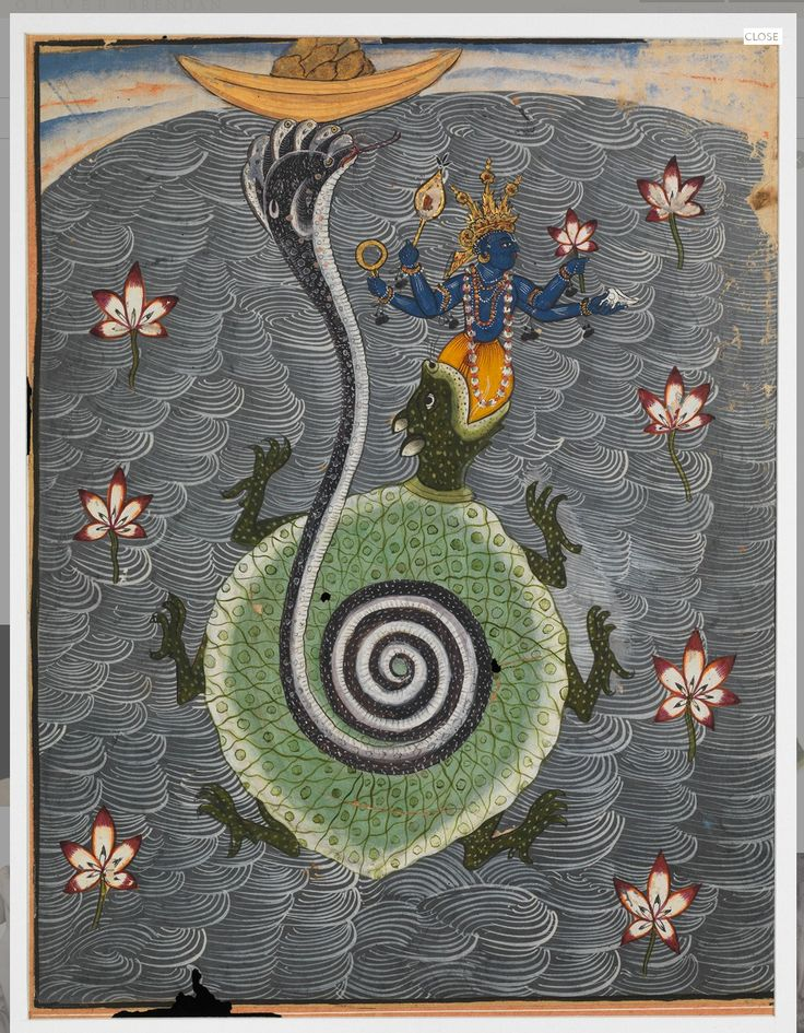 Tortoise Avatar of Vishnu circa 1690 gouache and gold on paper , 10 1/8 by 8 in. Inscribed on reverse in nagari with a dated inspection note: am. 2 sam. 1751 kati 'number 2 [avatar] samvat 1751 (1694 A.D.) [month] Karrtika' and with the partially erased stamp of the private collection of the Maharaja of Bikaner Provenance Collection of the Maharajas of Bikaner Natesan Gallery, London, 1996 Heil Collection, Berlin, 1996-2016 Acquired by the Asian Art Museum, San Francisco