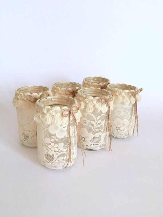 Hey, I found this really awesome Etsy listing at https://www.etsy.com/listing/253436155/set-of-6-mason-jar-with-candle-shabby