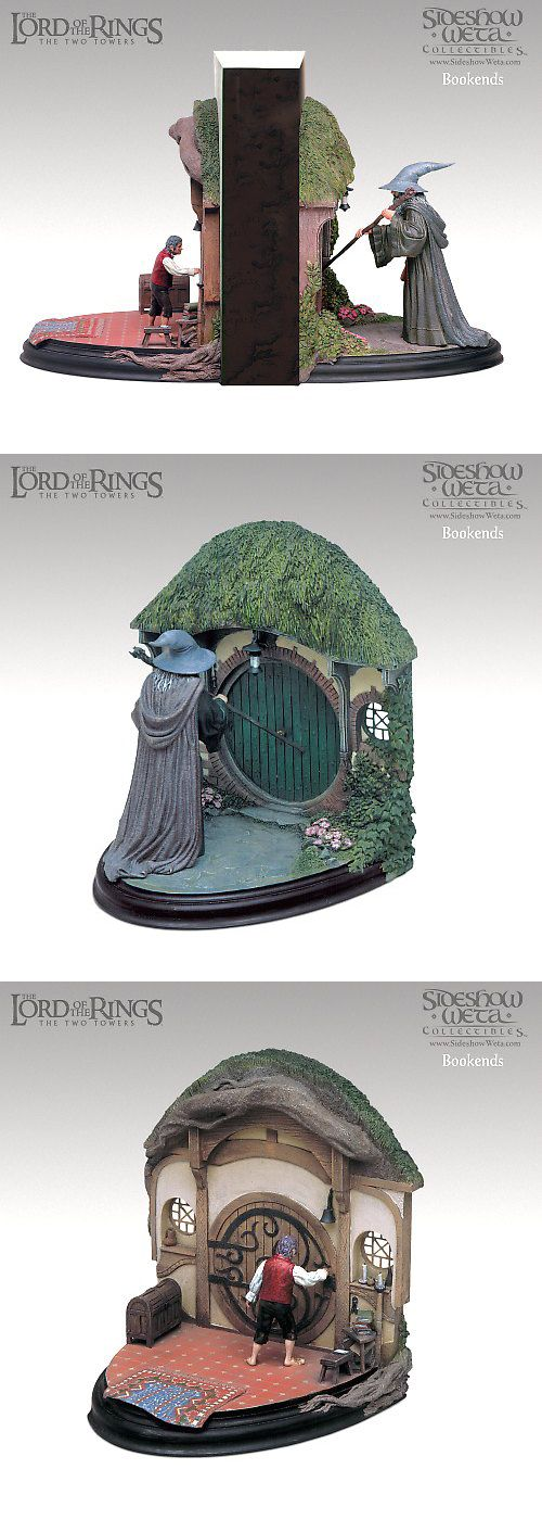 LOTR Gandalf and Bilbo bookends....pinterest, you get me. I NEED THESE IN MY LIFE RIGHT NOW DAMMIT!