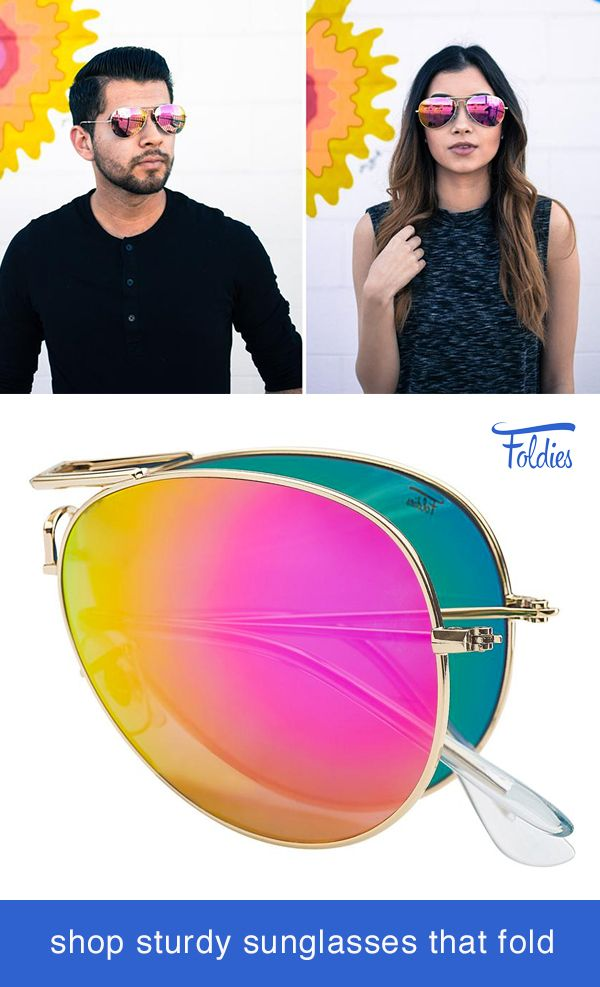 f1f55db9a Cute Aviator Sunglasses by Foldies. Comes with a 2 Year Warranty. Shop  styles including gold frame sunglasses, polarized mirror lenses, aviators  and classic ...