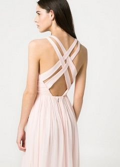 Robe longue soie - Femme - MANGO , rose poudré long dress light pink