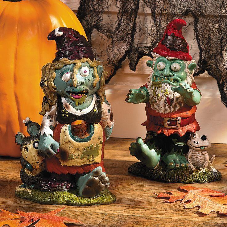 Zombie Boy U0026 Girl Gnome Set. Garden GnomesGarden StatuesOutdoor ...