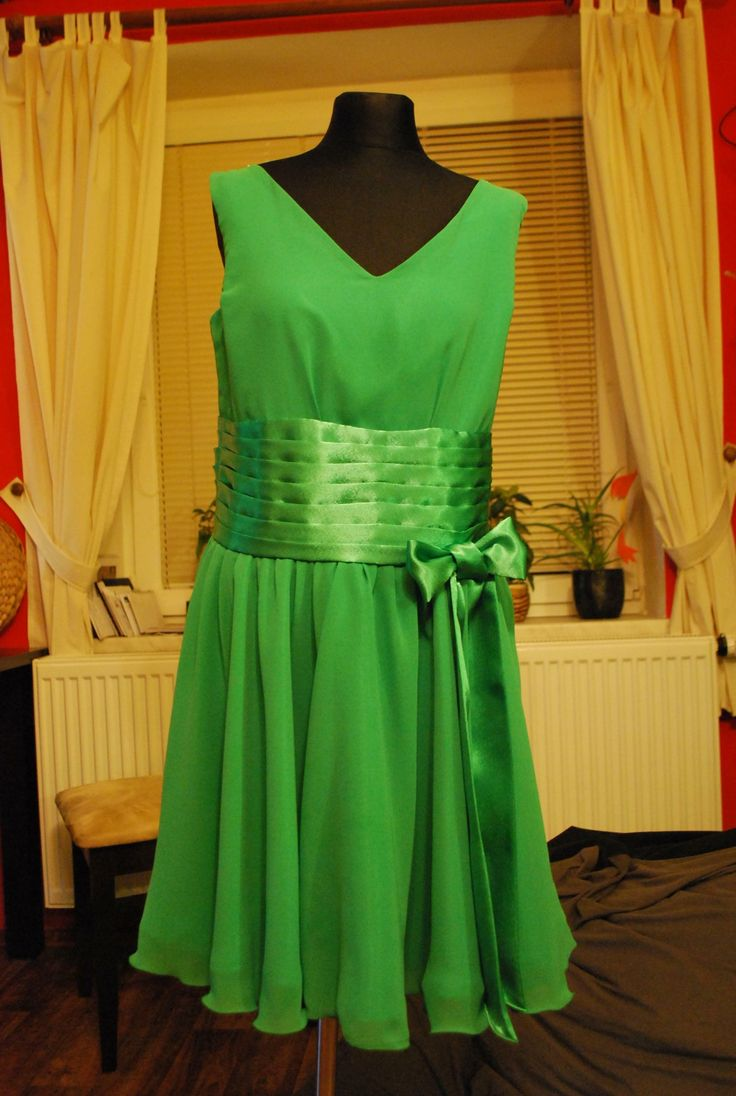 Green chiffon silk dress...