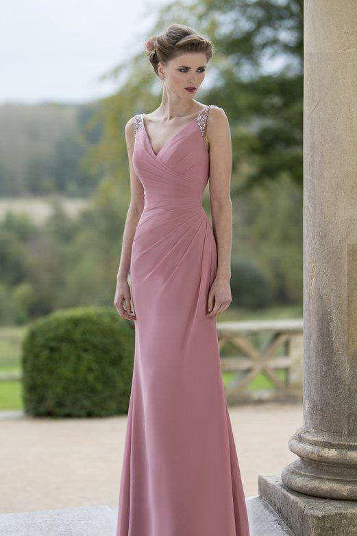 Beaded #Strap Mauve V Neck #Sleeveless #Sheath Floor Length #Evening #Dress
