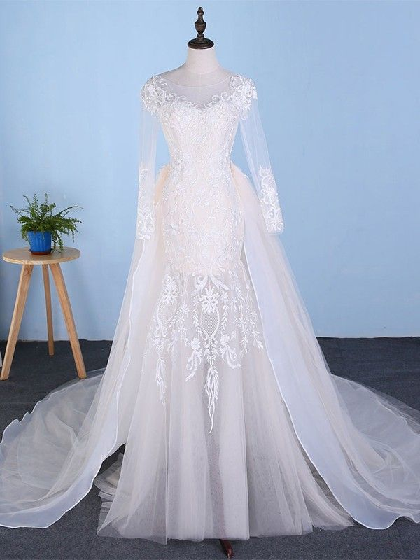 ad6b75cdfd2 O-Neck 2 In 1 Detachable Train Customize Made Plus Size Tulle Bridal Gown  Itemwd0546  ddaydress  ONeckweddingdress  2In1DetachableTrainbridalgown ...