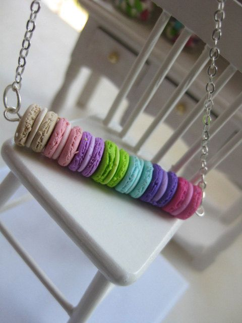 ★Macarons lovers will really enjoy this item! Dare to combine it with one of these colorful rings - https://www.etsy.com/listing/221865078/pastel-macaroon-ring-112-dollhouse-scale?ref=shop_home_active_13★  ● Handmade, specially detailed colorful Macaroons in a row!  ~~~~~~~~~~~~~All made of polymer clay~~~~~~~~~~~~~~  ● Sterling Silver chain, aprox. 60cm long.   Dimensions of macaroons: 4cm long, and diameter of 1 piece aprox: 0,8cm.