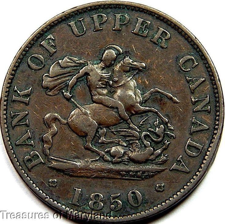"""St George the Dragon Slayer"" 1850 BANK OF UPPER CANADA Halfpenny  Sku #QP10"