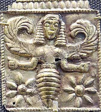 Minoische Göttin als Biene, aus Rhodos, 7. Jh. v. Chr. Die alten Griechen nannten Göttinnen Melissae, was Bienen bedeutet.
