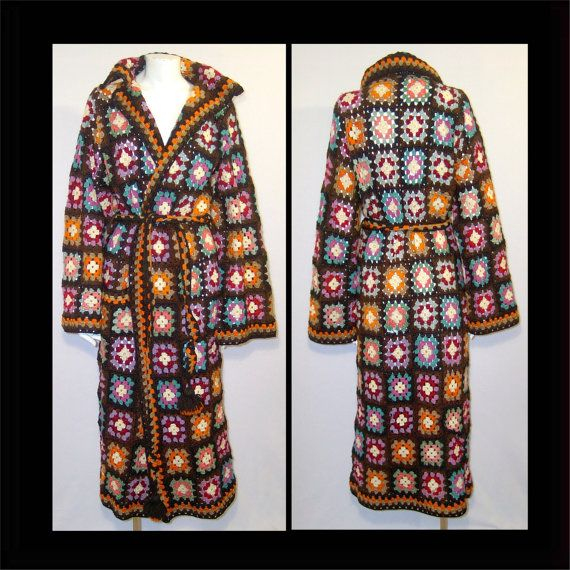 Vintage crochet granny square wrap coat  Small  by ForeverSexy, $175.00