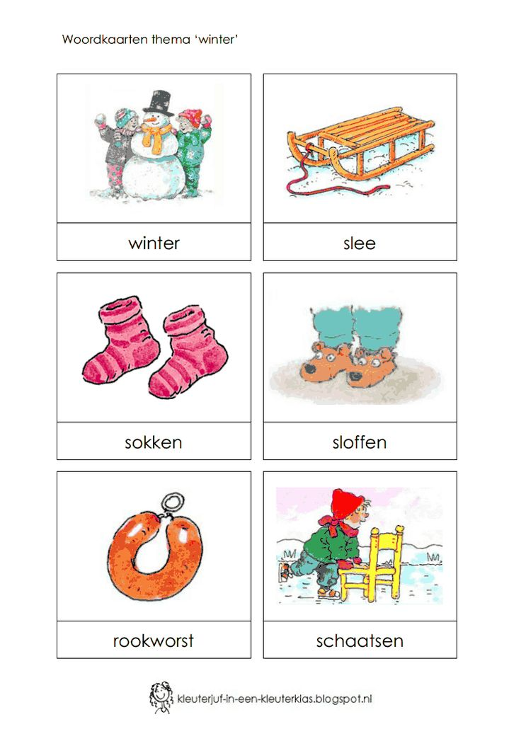 Woordkaarten thema 'winter'