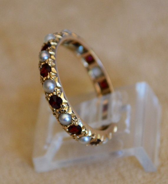 9K Gold Eternity Pearl and Garnet Ring  Band by OkeysSecretRoom, $455.00