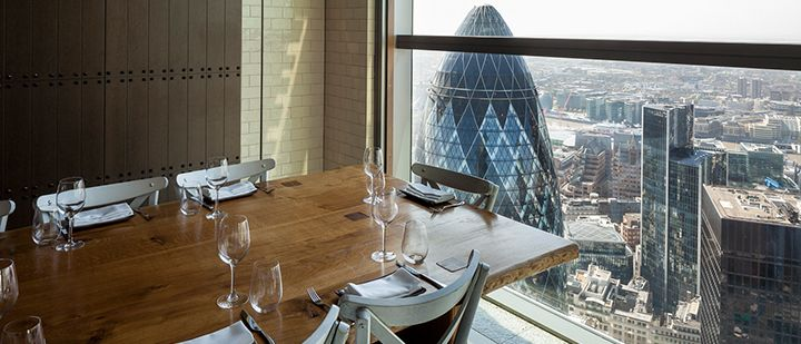Duck & Waffle, on the 40th floor of Heron Tower in the City of London. Let's meet here for lunch.