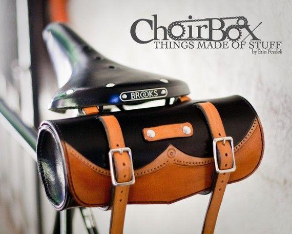 Leather bike saddle bag