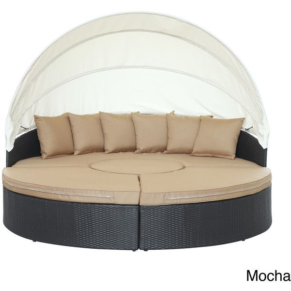 Modway Quest Circular Outdoor Wicker Rattan Patio Daybed With Canopy  ($1,542) ❤ Liked On