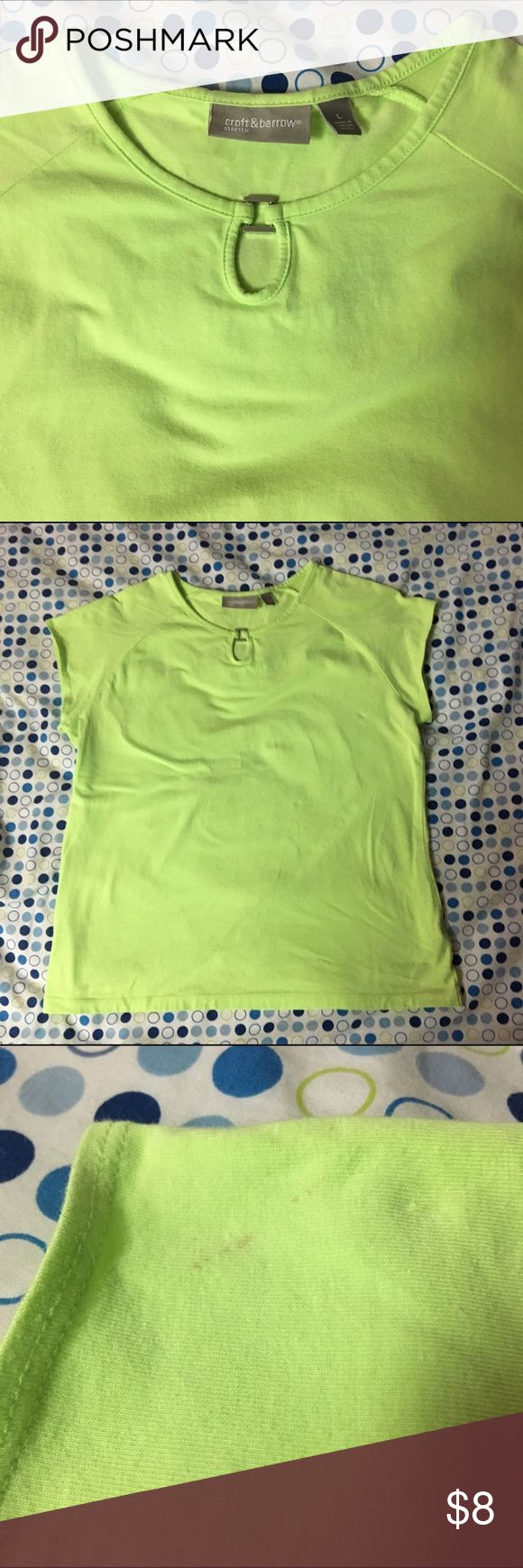 Lime Green Croft and Barrow Tee This lime green Croft and barrow stretch tee shirt is in good shape. It is very soft. It has two small stains. One is on the shoulder and the other is on the back on the bottom both pictured. Still a lot of life left in it. croft & barrow Tops Tees - Short Sleeve
