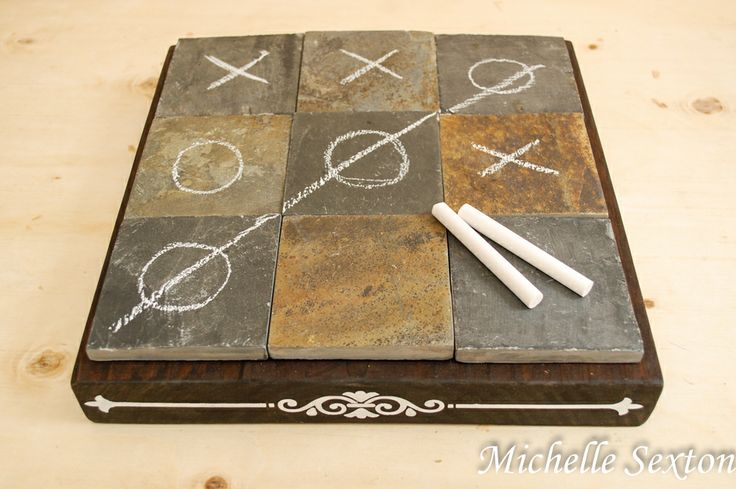 DIY Slate Coffee Table Tic Tac Toe Board - click through and learn how to make this @Michelle Sexton
