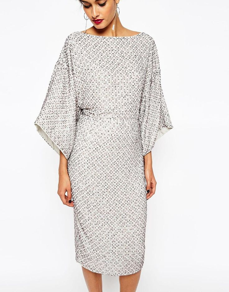 Image 3 of ASOS PETITE RED CARPET Sequin Grid Kimono Midi Dress