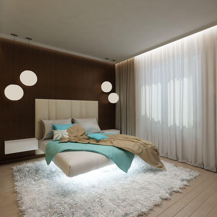 Дизайнер Татьяна Зайцева задумала интерьере спальни установить именно светлую кровать. Обыграв ее подсветкой, дизайнер интерьера добилась такого эффекта, будто кровать парит над полом.