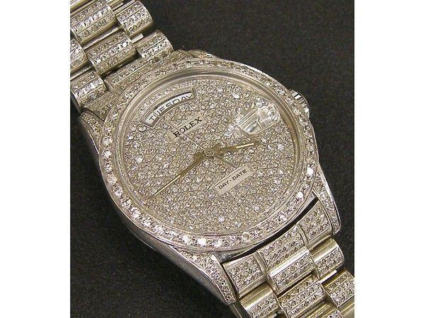 Rolex Day-Date 18k white gold diamond gentleman's bracelet watch #rolex #watch