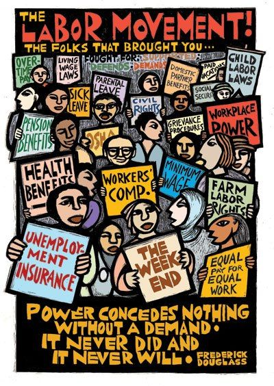 On  Labor Day please let us know how you teach about labor history and labor unions all year long. If you are looking for resources, here's an educational poster from Ricardo Levins Morales Art Studio and there are lessons, books, and films listed on the Zinn Education Project website