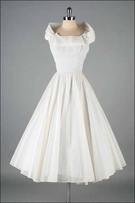 Vintage 1950s Dress Swiss Dot White Chiffon by millstreetvintage...perfect for an outdoor summer wedding!