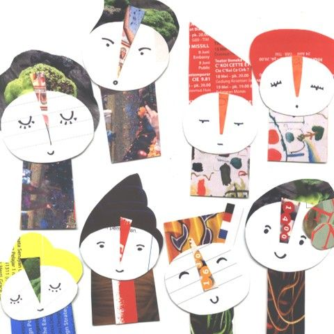 Set of 8.. OOAK collage paper dolls.. Cute character by bila